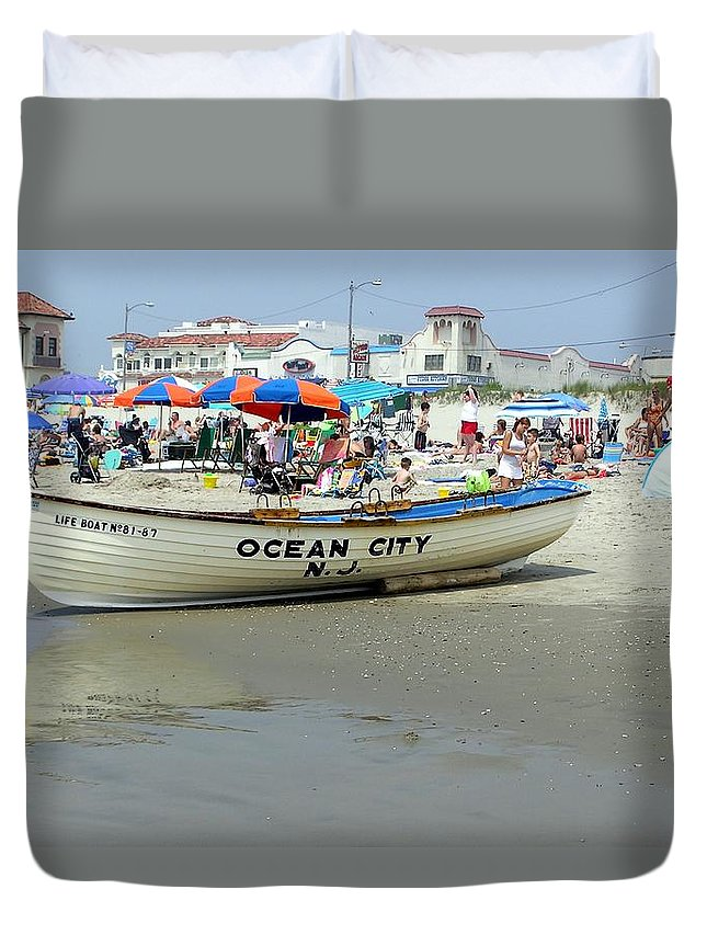 Nj Duvet Cover featuring the photograph Lifeguard Boat At Ocean City Boardwalk New Jersey by Sven Migot