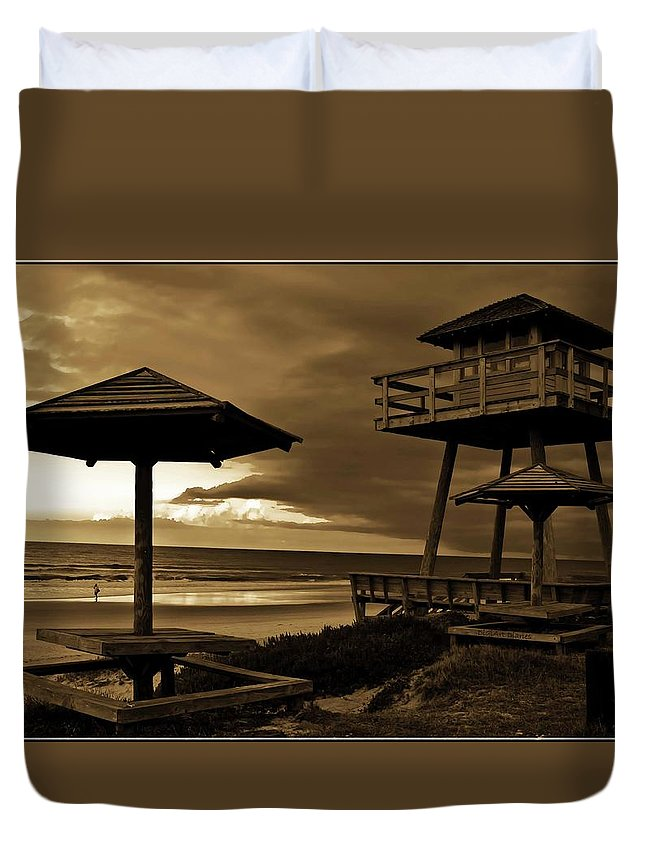 Shore Duvet Cover featuring the photograph World War II Coastal Watchtower by DigiArt Diaries by Vicky B Fuller