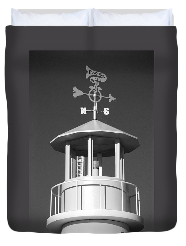 Brooklyn Duvet Cover featuring the photograph Light House On Coney Island In Black And White by Rob Hans