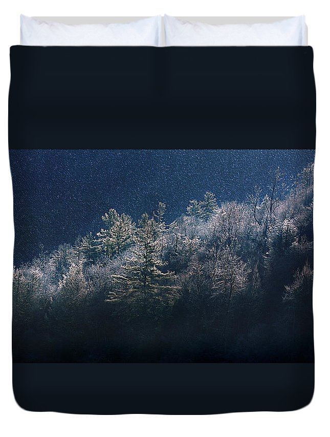 Mountain Duvet Cover featuring the photograph Light Play by Gray Artus