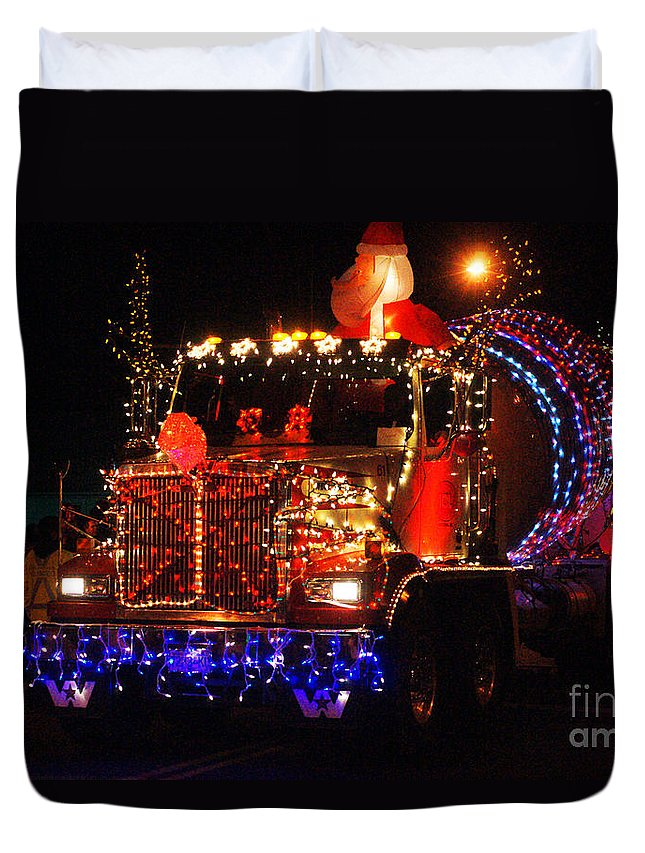 Christmas Lights Duvet Cover featuring the photograph Lighted Cement Truck by Randy Harris