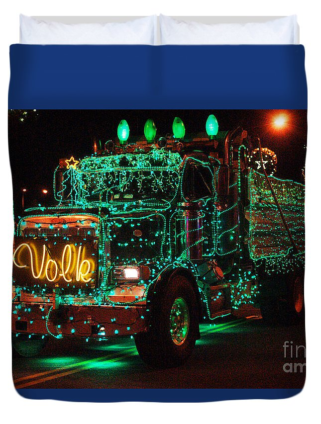 Christmas Lights Duvet Cover featuring the photograph Lighted Green Dumptruck by Randy Harris