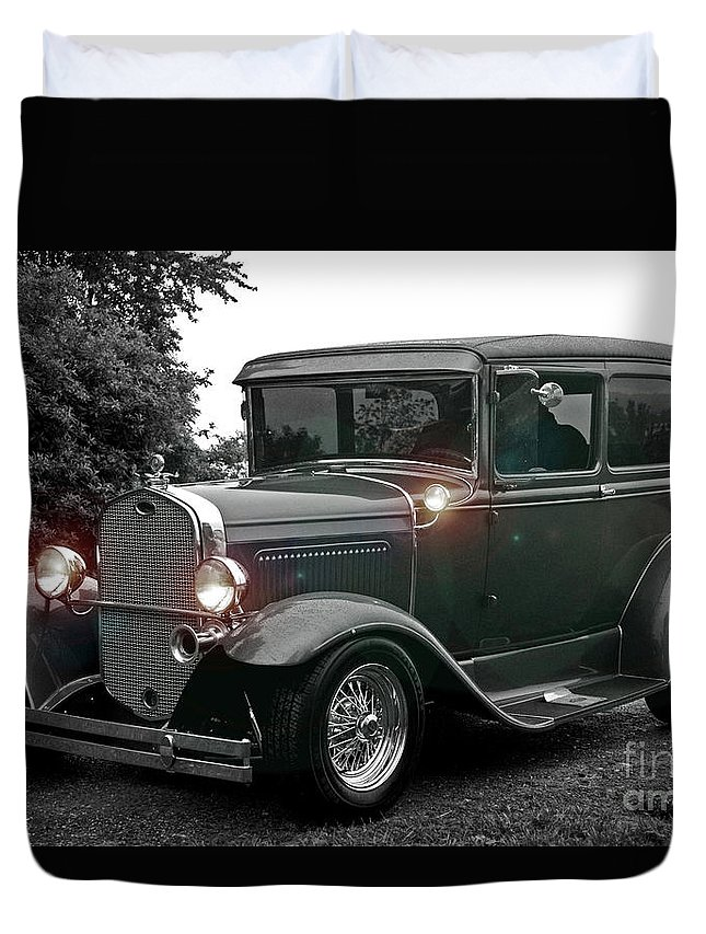 Cars Duvet Cover featuring the photograph Lighted Old Black And White by Randy Harris