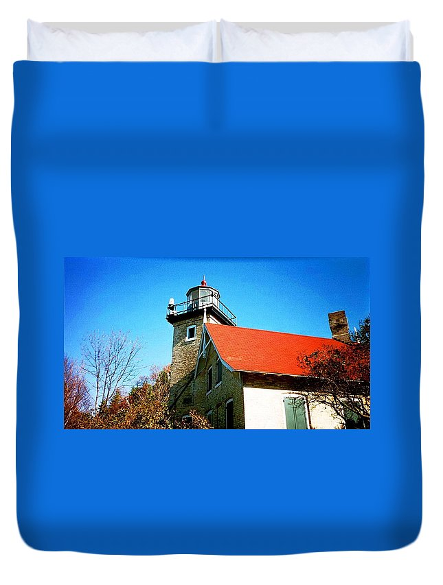 Lighthouse Duvet Cover featuring the photograph Lighthouse In The Fall by April Patterson