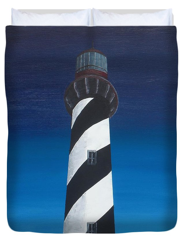 Lighthouse Duvet Cover featuring the painting Lighthouse by Kelvin Kelley