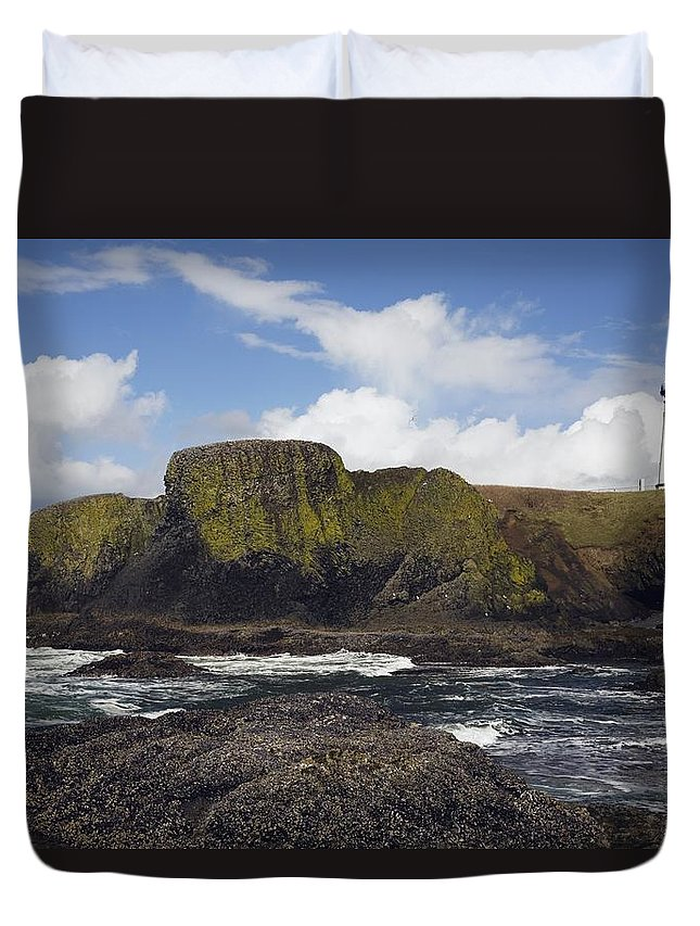 Cliff Duvet Cover featuring the photograph Lighthouse On Coastal Cliff by Craig Tuttle