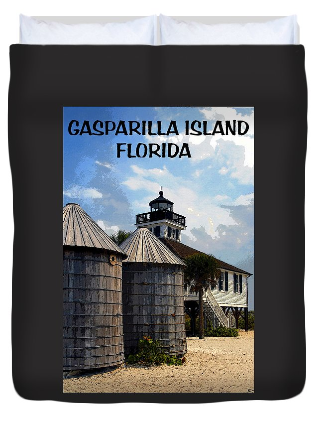 Art Duvet Cover featuring the painting Lighthouse On Gasparilla by David Lee Thompson