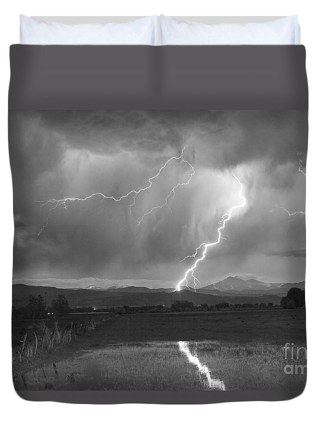 Awesome Duvet Cover featuring the photograph Lightning Striking Longs Peak Foothills 2bw by James BO Insogna