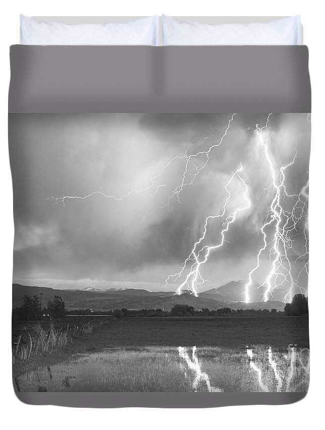 Lightning Duvet Cover featuring the photograph Lightning Striking Longs Peak Foothills 4bw by James BO Insogna