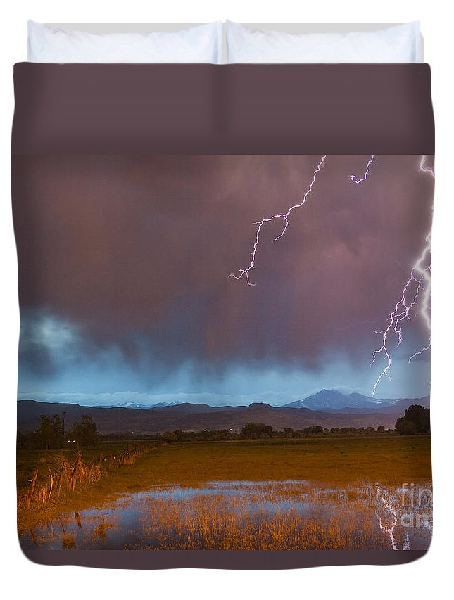 Decorative Duvet Cover featuring the photograph Lightning Striking Longs Peak Foothills 5 by James BO Insogna