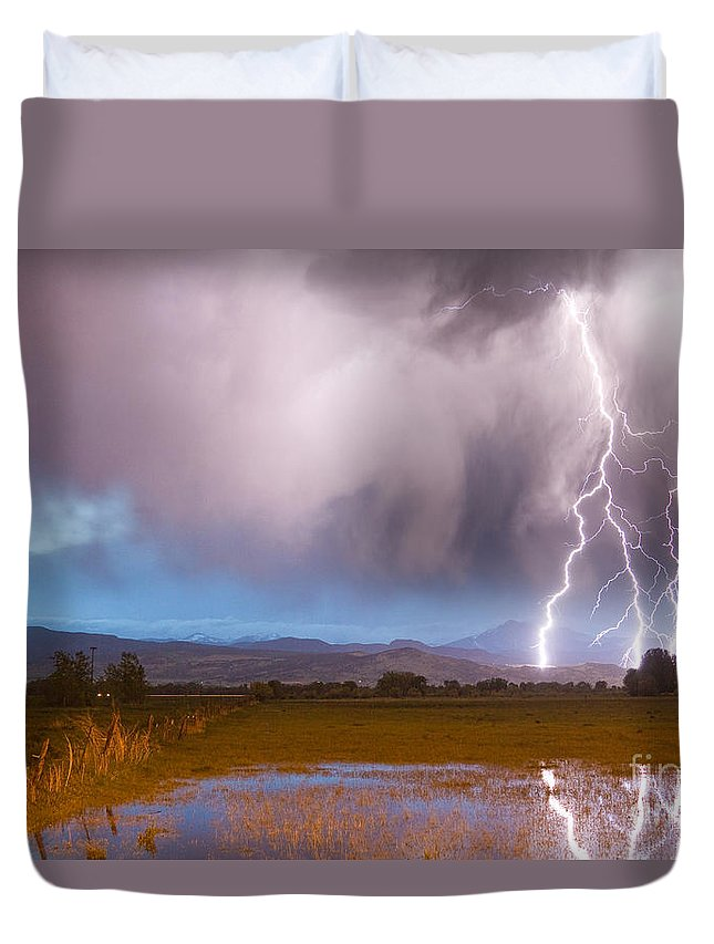 Lightning Duvet Cover featuring the photograph Lightning Striking Longs Peak Foothills 6 by James BO Insogna