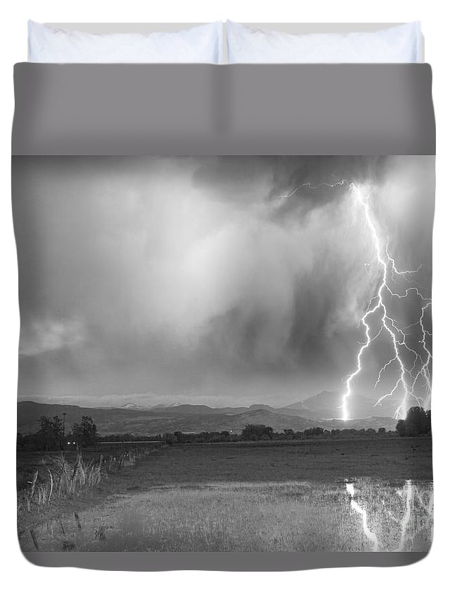 Awesome Duvet Cover featuring the photograph Lightning Striking Longs Peak Foothills 6bw by James BO Insogna