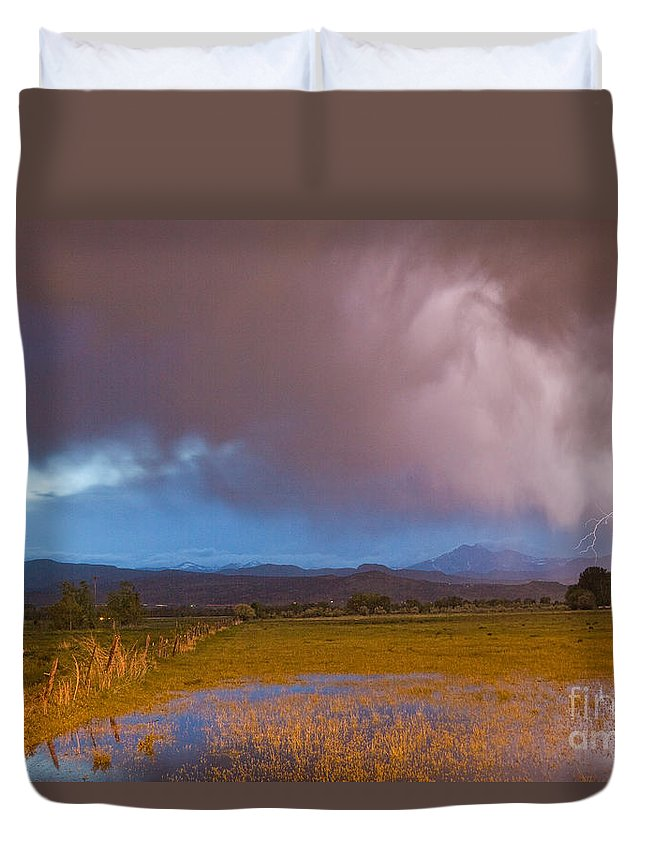 Awesome Duvet Cover featuring the photograph Lightning Striking Longs Peak Foothills 7 by James BO Insogna