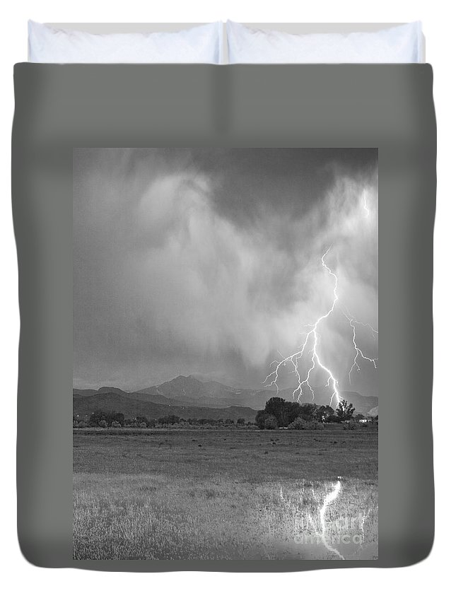 Lightning Duvet Cover featuring the photograph Lightning Striking Longs Peak Foothills 7cbw by James BO Insogna