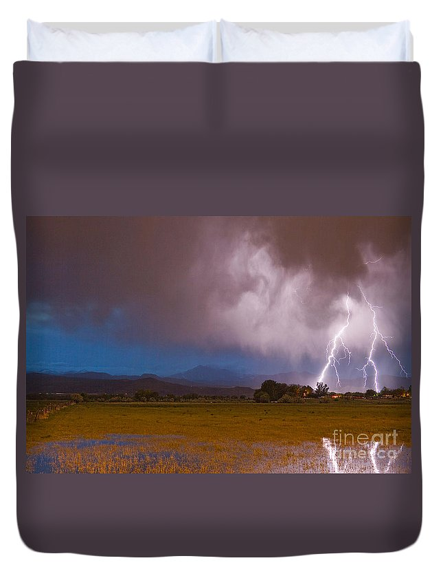 Lightning Duvet Cover featuring the photograph Lightning Striking Longs Peak Foothills 8 by James BO Insogna