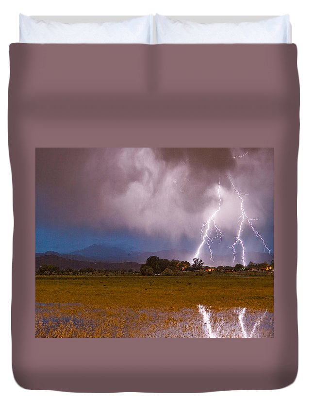 Lightning Duvet Cover featuring the photograph Lightning Striking Longs Peak Foothills 8c by James BO Insogna