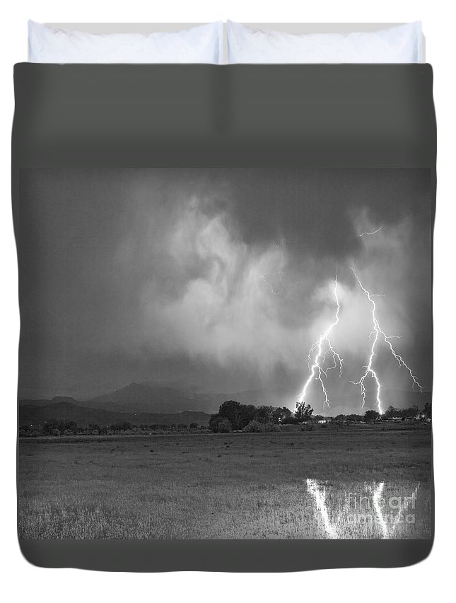 Awesome Duvet Cover featuring the photograph Lightning Striking Longs Peak Foothills 8cbw by James BO Insogna