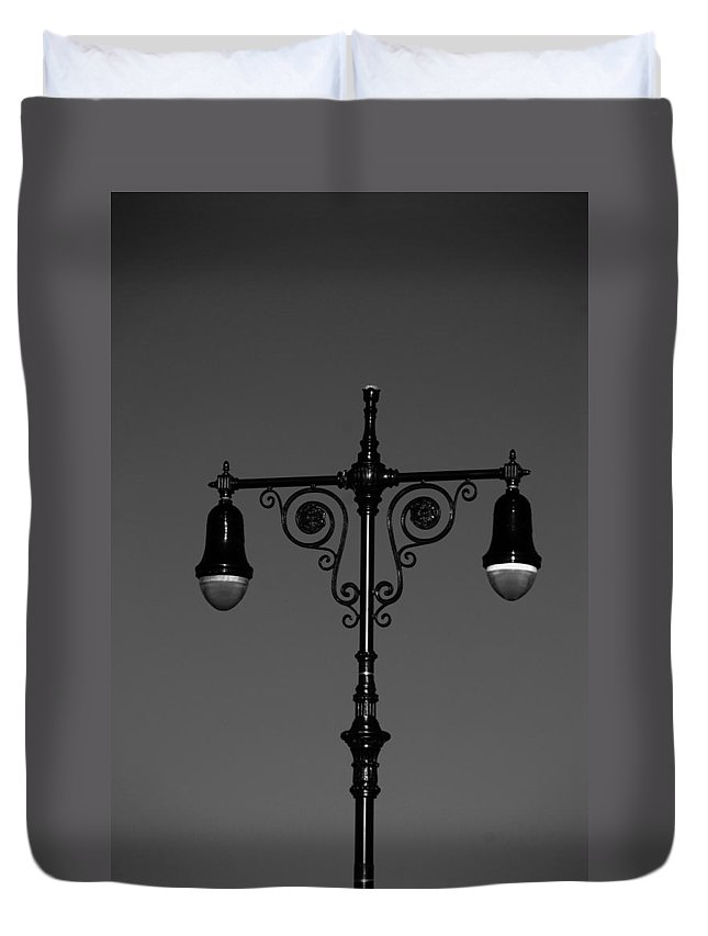 Brooklyn Duvet Cover featuring the photograph Lights Of Coney Island In Black And White by Rob Hans
