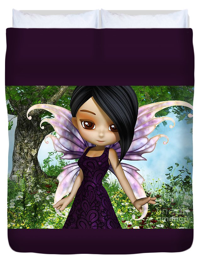 3d Duvet Cover featuring the digital art Lil Fairy Princess by Alexander Butler
