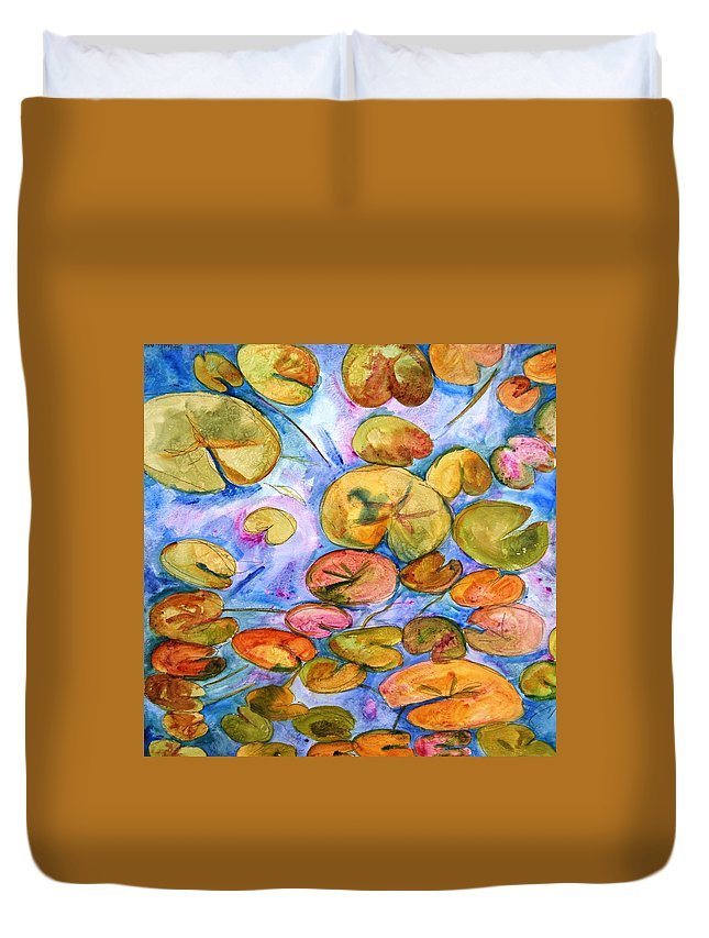 Impressionist Pond Of Waterlilies Watercolor Painting Art 20x20 Square Duvet Cover featuring the painting Lily Pad Time by SchulmanArt