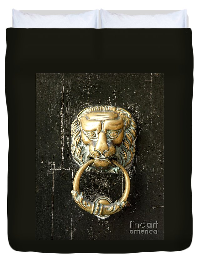 Door Duvet Cover featuring the photograph Lion Door Knocker by Lainie Wrightson