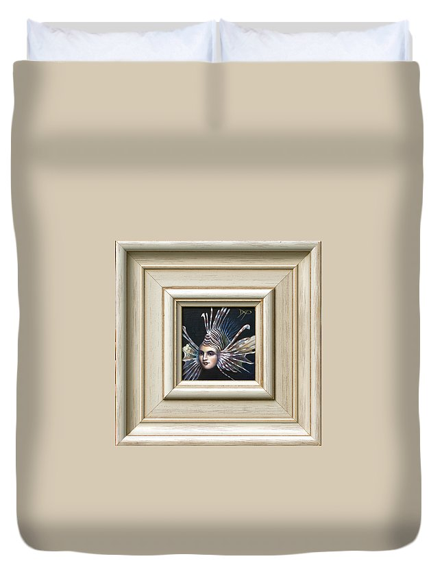 Lionfish Duvet Cover featuring the painting Lionessfish by Patrick Anthony Pierson