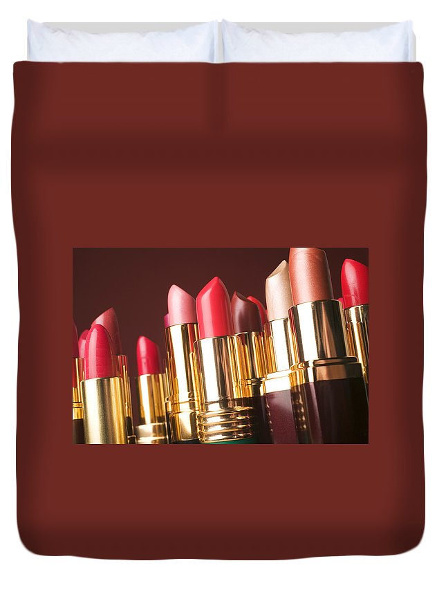 Lipstick Duvet Cover featuring the photograph Lipstick tubes by Garry Gay