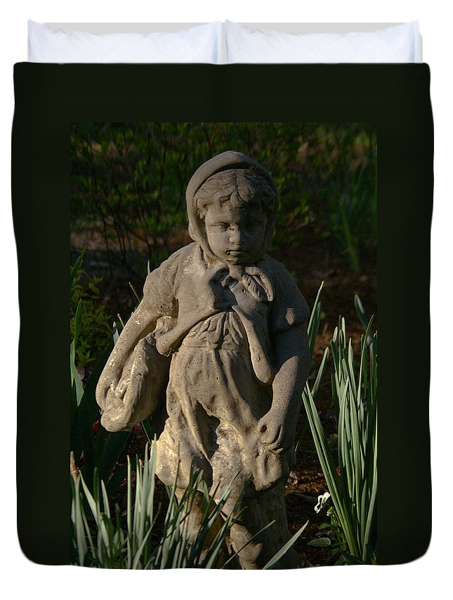 Cookeville Duvet Cover featuring the photograph Little Girl Turned To Stone by Douglas Barnett