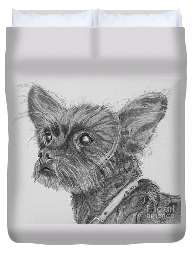 Dog Duvet Cover featuring the drawing Little Heartbeat At My Feet by Susan A Becker