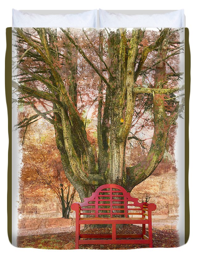 Fine Art Duvet Cover featuring the photograph Little Red Bench by Debra and Dave Vanderlaan