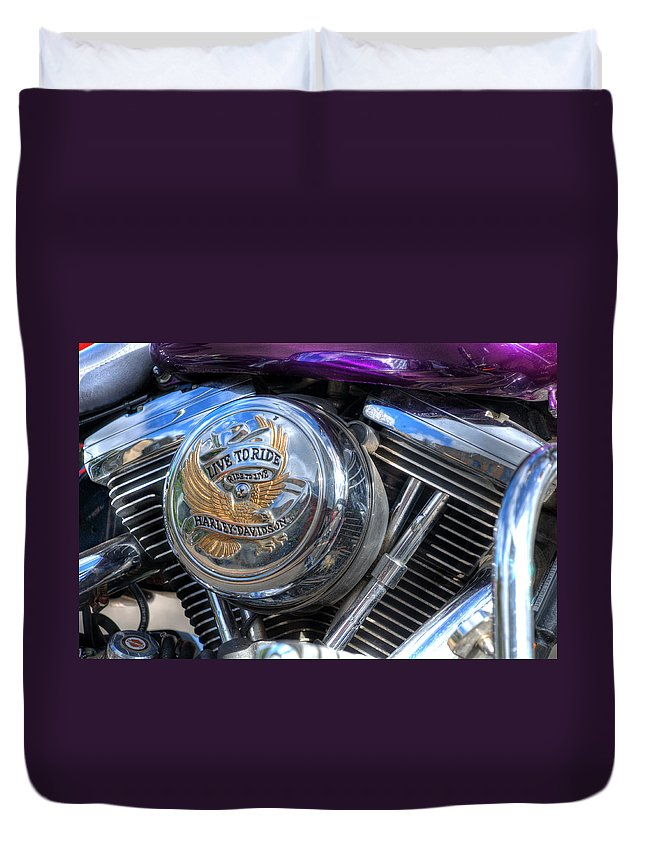 Harley Davidson Duvet Cover featuring the photograph Live To Ride by Steve Purnell