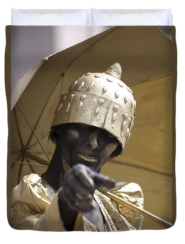 People Duvet Cover featuring the photograph Living Statue by Heiko Koehrer-Wagner