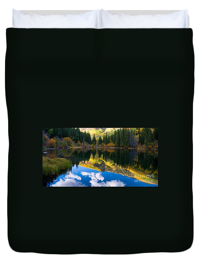 Colorado Duvet Cover featuring the photograph Lizard Lake Reflections by Steve Stuller