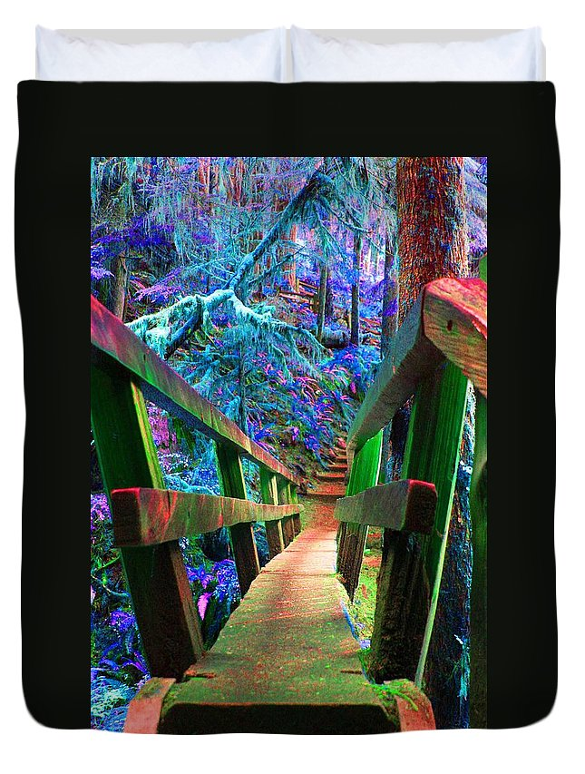 Log Bridge Framed Prints Duvet Cover featuring the photograph Log Bridges by Marie Jamieson