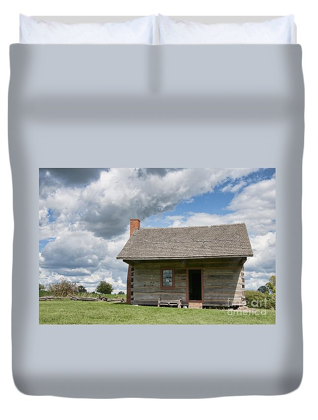 Log Cabin Duvet Cover featuring the photograph Log Cabin by David Arment