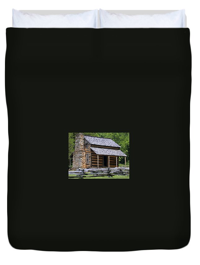 Log Cabin Duvet Cover featuring the photograph Log Cabin by Tim Mulina