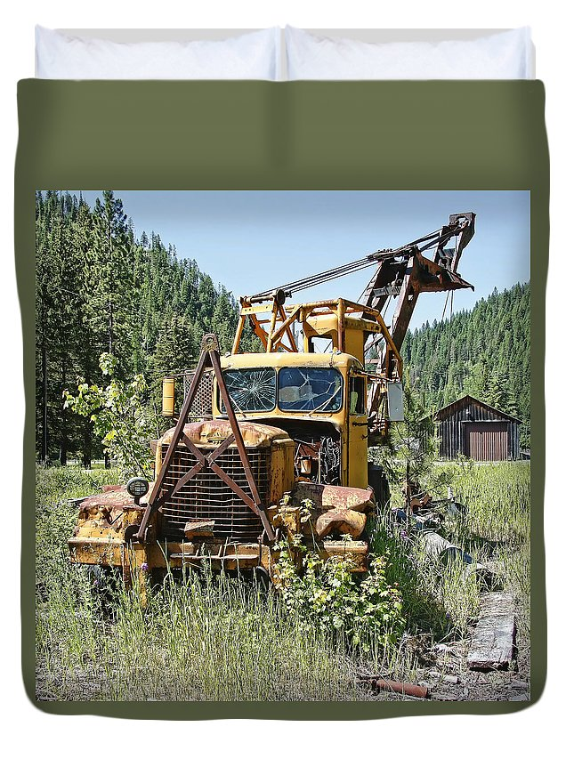 Truck Duvet Cover featuring the photograph Logging Truck - Burke Idaho Ghost Town by Daniel Hagerman