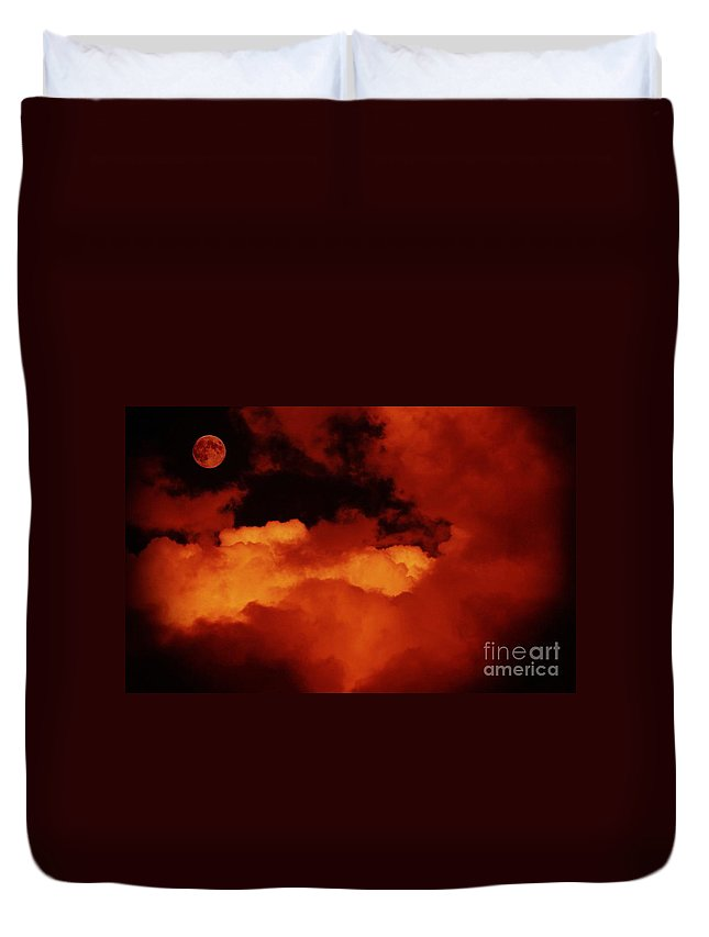 Lomo Moon And Clouds Duvet Cover featuring the digital art Lomo Moon And Clouds by Barbara Griffin