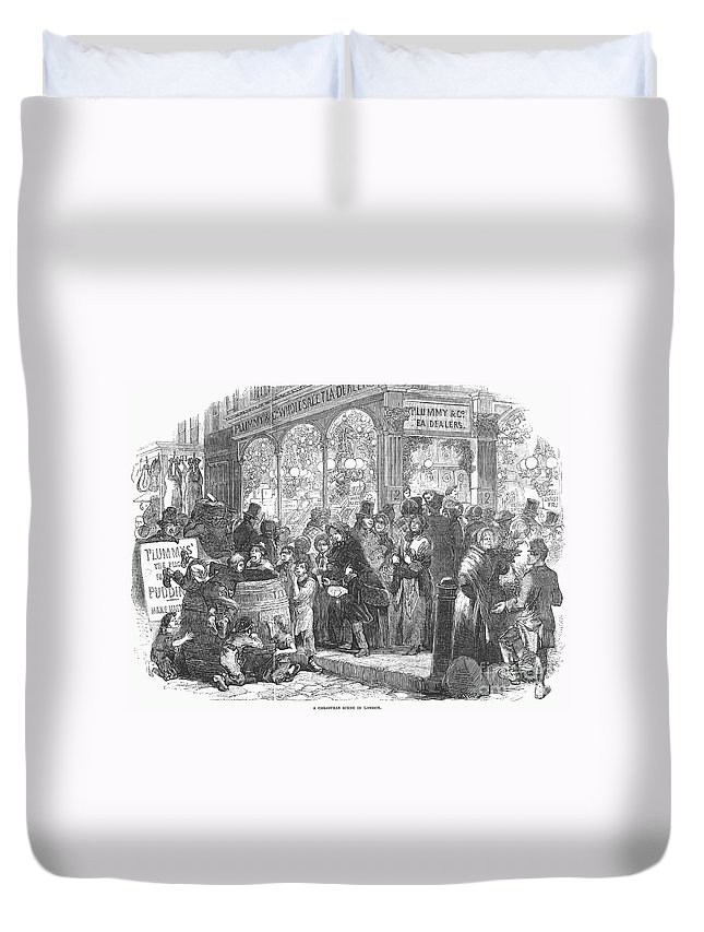 1866 Duvet Cover featuring the photograph London: Christmas, 1866 by Granger