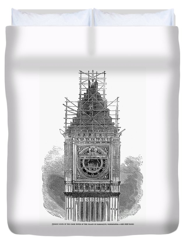 1856 Duvet Cover featuring the photograph London: Clock Tower, 1856 by Granger