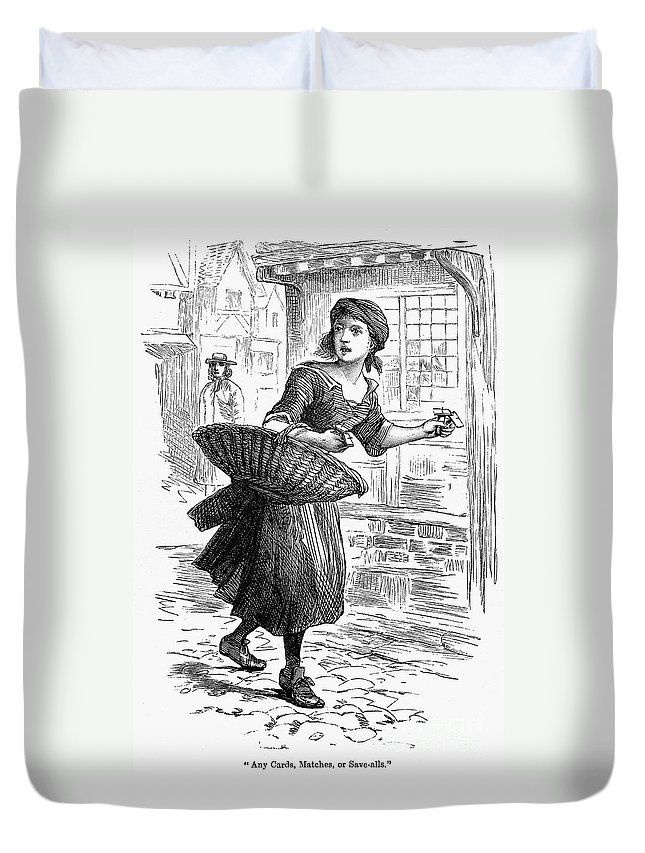 19th Century Duvet Cover featuring the photograph London: Match-girl by Granger