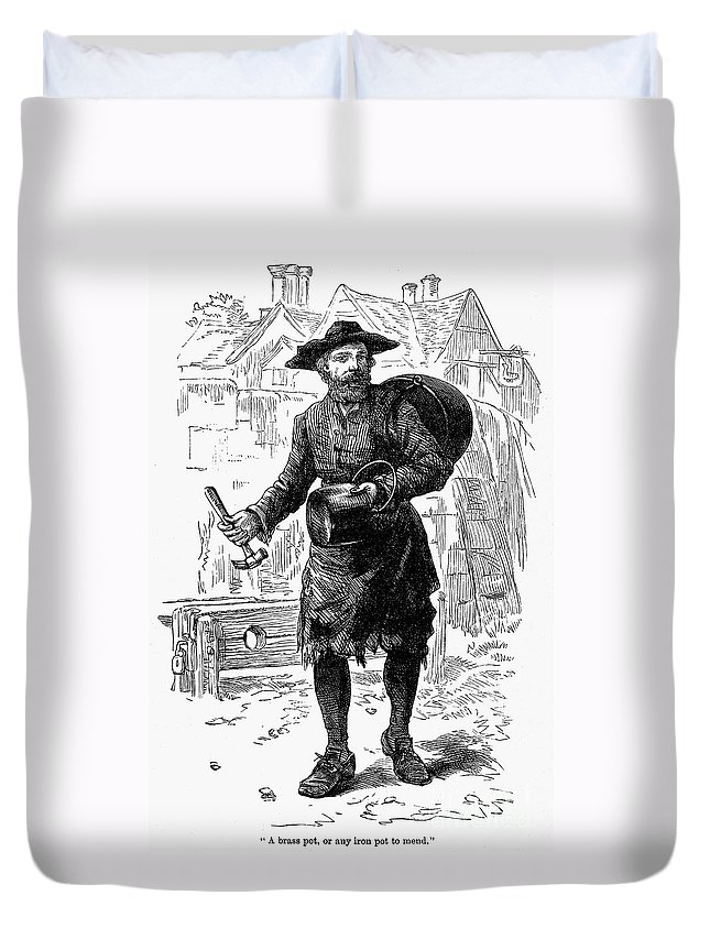 19th Century Duvet Cover featuring the photograph London: Peddlar by Granger