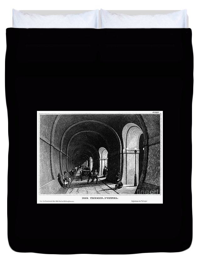 1840 Duvet Cover featuring the photograph London: Thames Tunnel by Granger