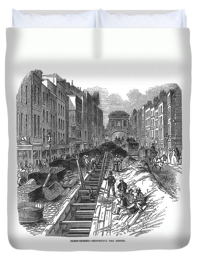 1845 Duvet Cover featuring the photograph London:fleet Street Sewer by Granger