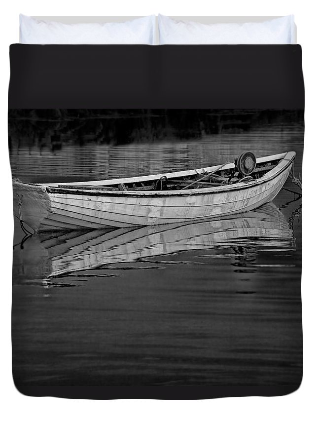 Art Duvet Cover featuring the photograph Lone White Boat In Nova Scotia by Randall Nyhof