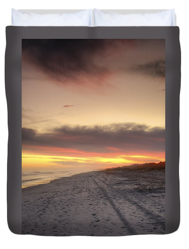 Beach Duvet Cover featuring the photograph Lonely Beach by Phill Doherty