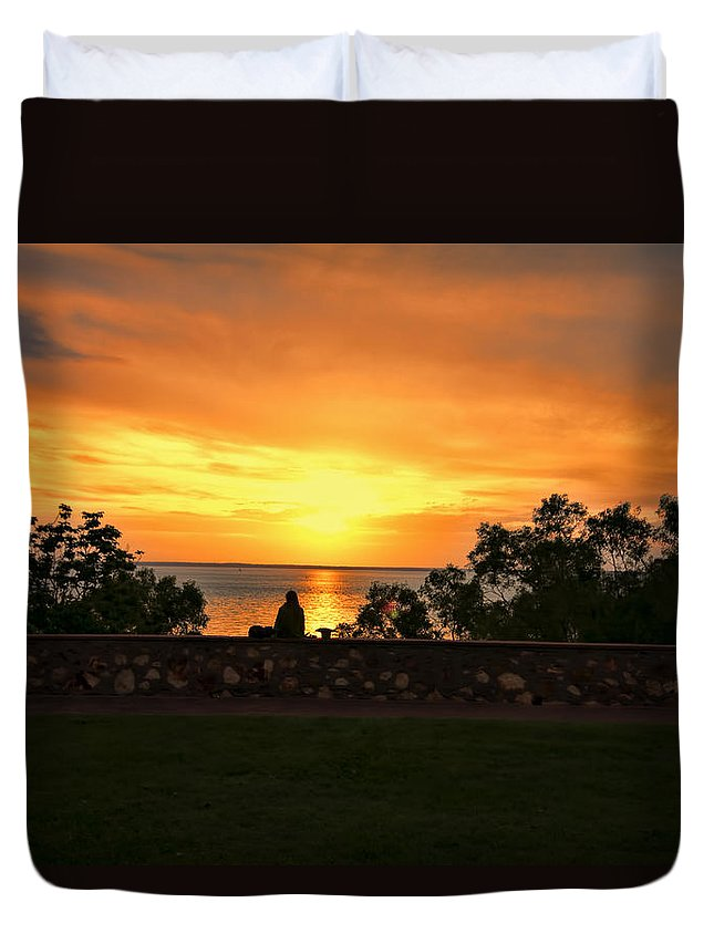 Sunset Duvet Cover featuring the photograph Lonely V2 by Douglas Barnard