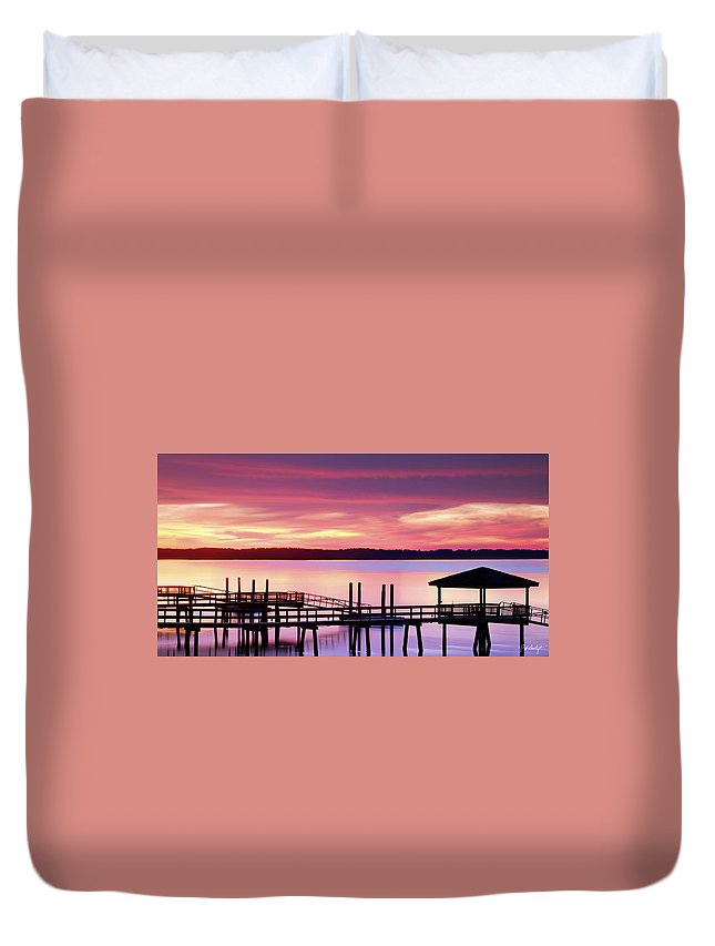 Beaufort County Duvet Cover featuring the photograph Long After Sunset by Phill Doherty