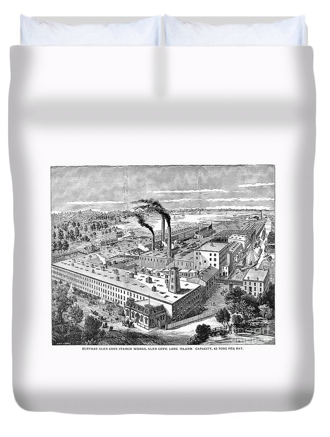 1890 Duvet Cover featuring the photograph Long Island: Factory by Granger