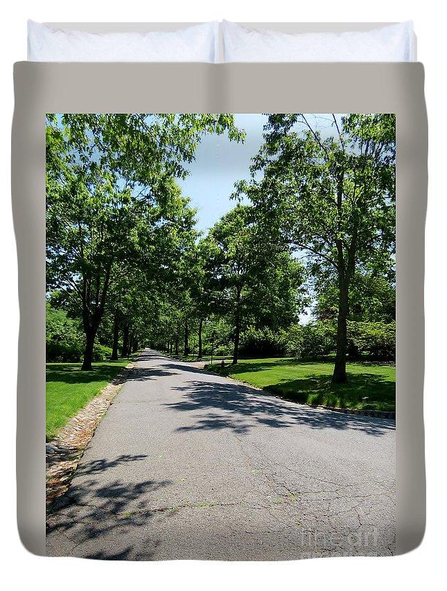 Street Duvet Cover featuring the photograph Long Walk Ahead by Art Dingo